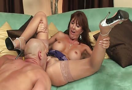 Fucking a redhead on the couch