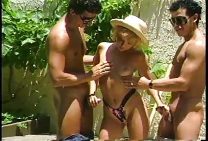 Two horny men fuck nice blonde chick