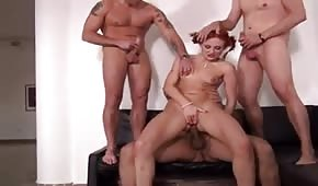 Gangbang with a redhead