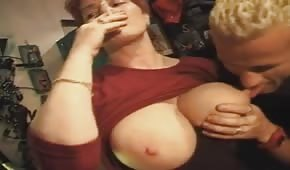 He's fucking this big titted redhead
