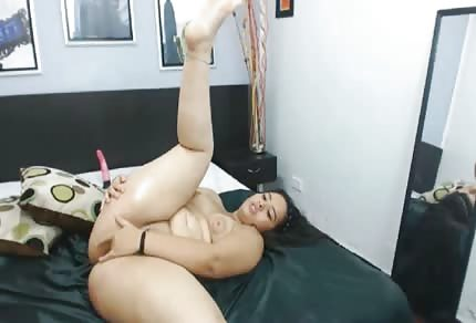 Curvy brunette girl and big dick