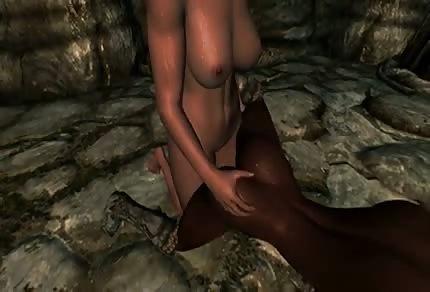 Animowane porno w jaskini