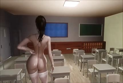 Sexy girl in the classroom