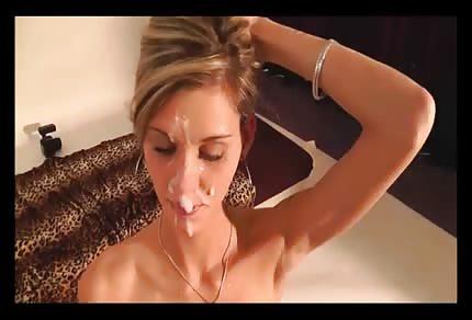 Sperma spływa z jej twarzy