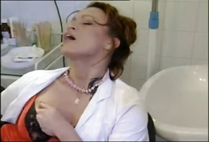 Naughty nurse is playing alone