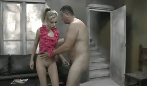Blonde girl wants to play with him