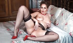 Sexy mommy is playing alone
