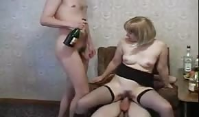Blonde girl and two big dicks