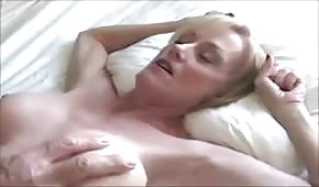 Blonde mom was fucked in her shaved pussy