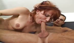 Skinny red-haired mommy