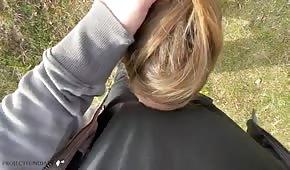Amatorski seks w plenerze z blondyną