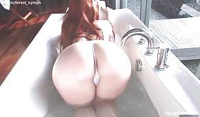 Cycata lisica masturbuje się podczas kąpieli